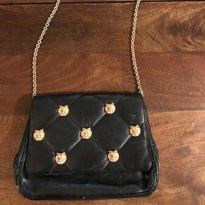 Vintage Owl Head black quilted leather handbag